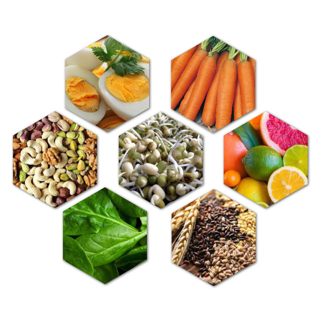Vegetables, lentils, grains and nuts as hair healthy diet