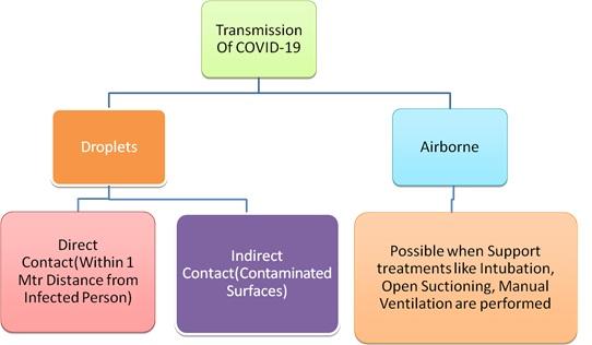 A chart depicting corona virus transmission