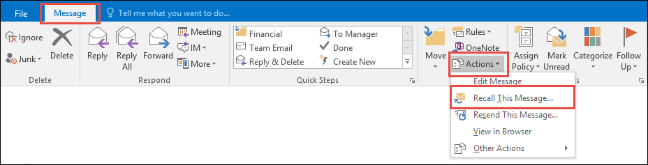 """""""Recall message"""" setting options in Outlook"""