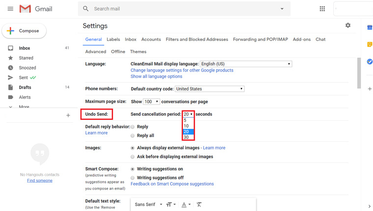 Setting time to unsend an email in Gmail