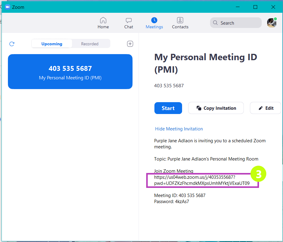 """Copy the link under """"Join Zoom Meeting"""""""