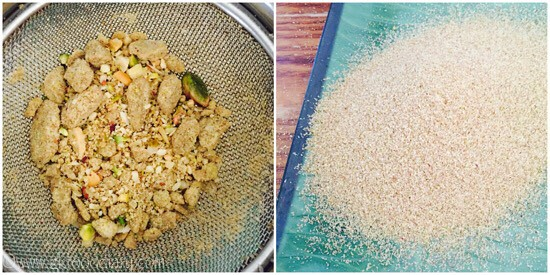 Sieving almond, cashew and pistachio powder in a sieve