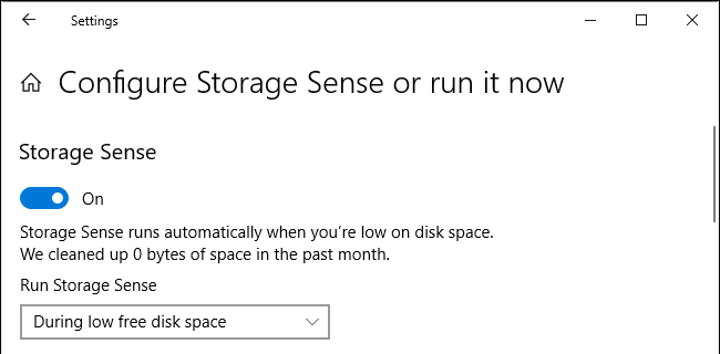 Automatic deletion of files in windows 10 by storage sense when the disk runs on low space