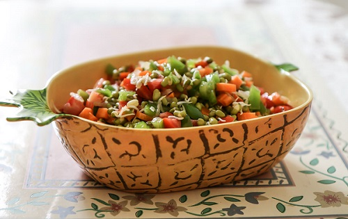 A bowl of tasty & healthy sprout veggie salad recipe
