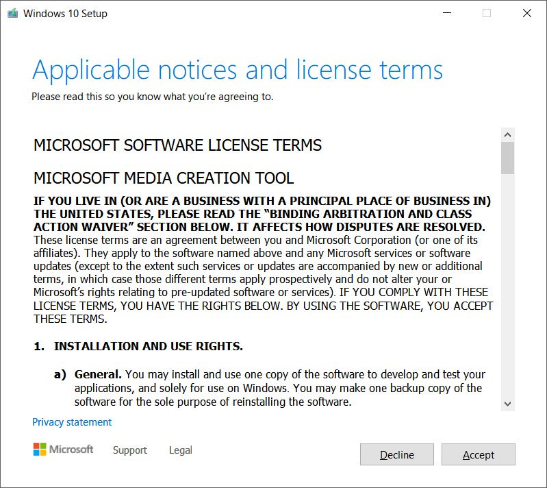 Accept the license terms of Microsoft in order to proceed for further installation